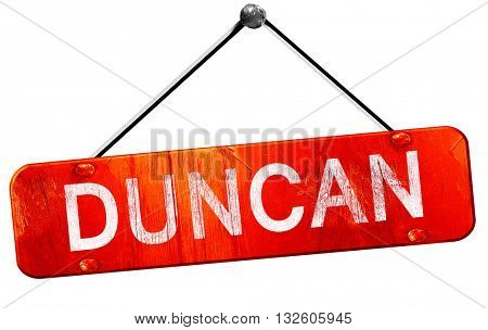 duncan, 3D rendering, a red hanging sign