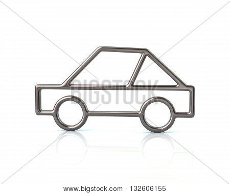 3D Illustration Of Silver Sport Car Icon
