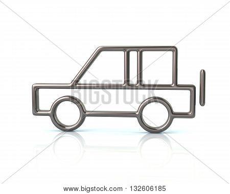 3D Illustration Of Silver Suv Car Icon