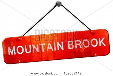 mountain brook, 3D rendering, a red hanging sign