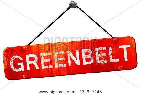 greenbelt, 3D rendering, a red hanging sign