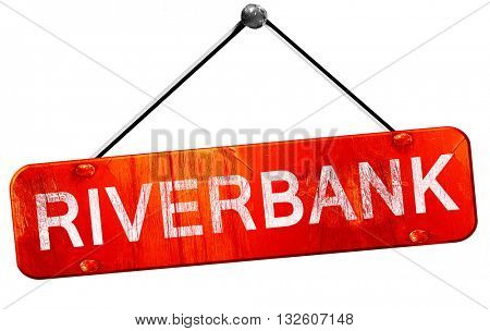 riverbank, 3D rendering, a red hanging sign