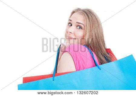 Cute Young Woman In Closeup Holding Bags And Doing Shopping