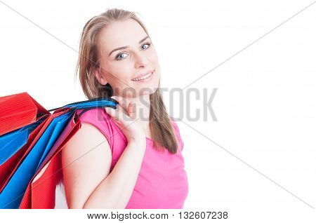 Portrait Of Beautiful Woman Enjoying Her Freetime At Shopping