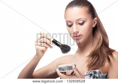 Powder. Woman With A Brush