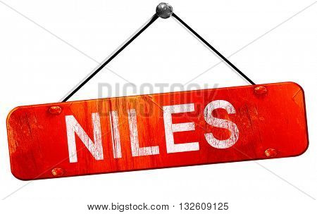 niles, 3D rendering, a red hanging sign