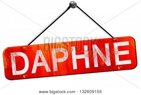 daphne, 3D rendering, a red hanging sign