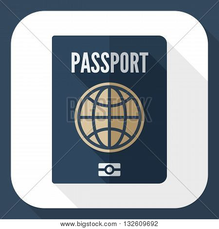 Vector Passport icon. Passport simple icon in flat style with long shadow