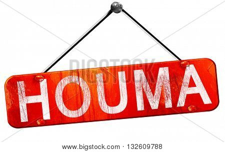 houma, 3D rendering, a red hanging sign
