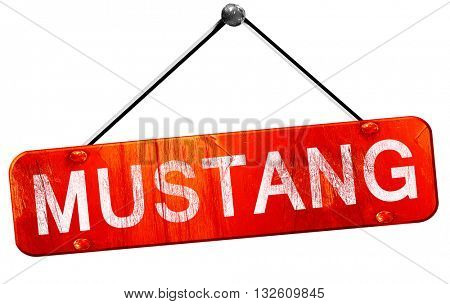 mustang, 3D rendering, a red hanging sign