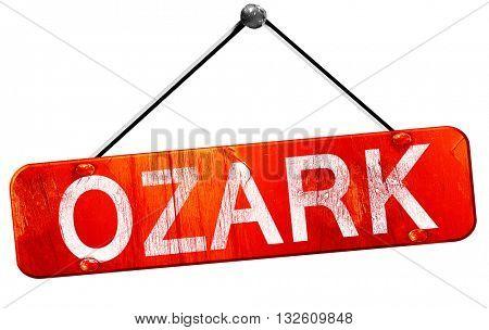 ozark, 3D rendering, a red hanging sign
