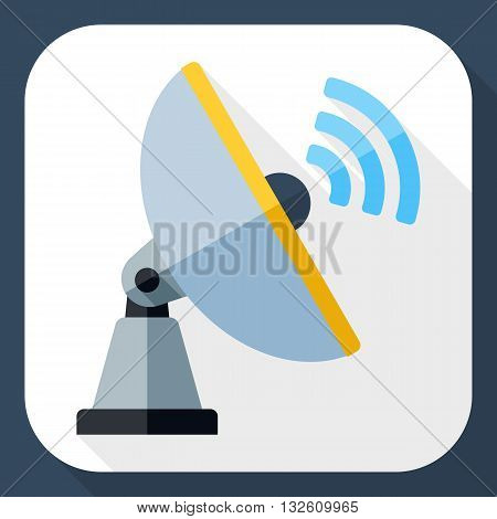 Vector Satellite Antenna icon. Satellite Antenna simple icon in flat style with long shadow