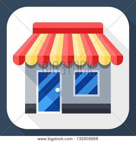 Vector Store or Shop icon. Shop or Store simple icon in flat style with long shadow