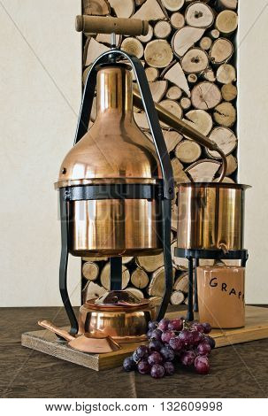 the copper still for distillation of grappa and essential oils.