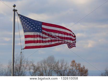 Flag for the United States flying on the Blue Ridge near the Shenandoah