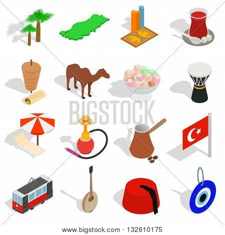 Country Turkey icons set in isometric 3d style isolated on white background