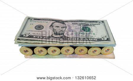 Weapon ammo pile money dollars dangerous sandwich.