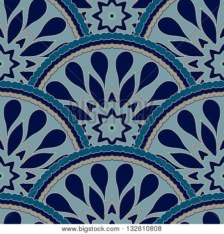 Seamless patchwork pattern frame of trendy colored floral flower tile circles. For wallpaper, surface textures, fabric textile swatch. Indian Islam mexican ethnic round style. White indigo blue vector
