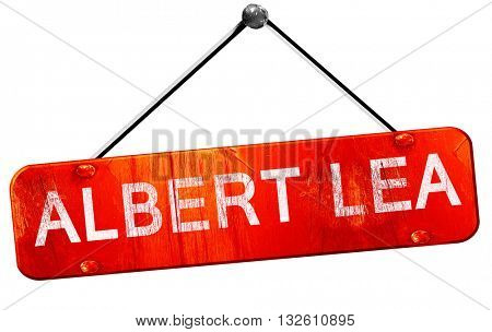 albert lea, 3D rendering, a red hanging sign