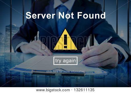 Server Not Found Error Danger Caution Warning Concept