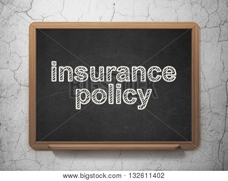 Insurance concept: text Insurance Policy on Black chalkboard on grunge wall background, 3D rendering