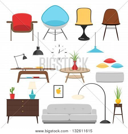 Furniture interior decor elements and room design. Vector illustration concept icon set flat home decor sign