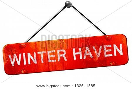 winter haven, 3D rendering, a red hanging sign