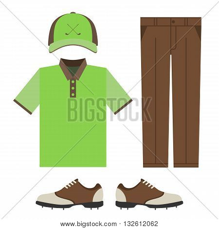 Golf colorful clothes set. Polo t-shirt, cap, pants and shoes. Sports uniform. Vector illustration isolated on white background for your web site design