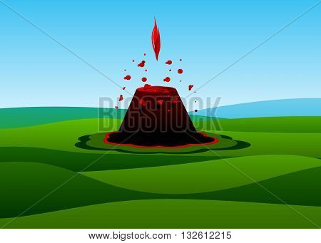 volcano. An active volcano with a red flame around the Green Mountains