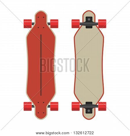 Red longboard two sides. Vector Illustration isolated on white background. Flat colorful sign for web site design or print
