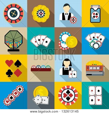 Casino icons set in flat syle for any design