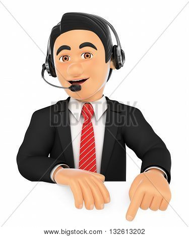3d business people illustration. Call center employee pointing down. Blank space. Isolated white background.
