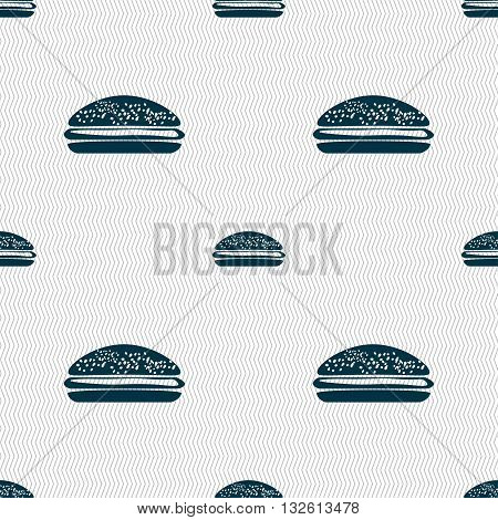 Burger, Hamburger Icon Sign. Seamless Pattern With Geometric Texture. Vector