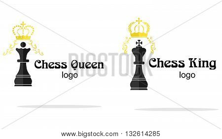 logo in style of flat design on the theme of chess.