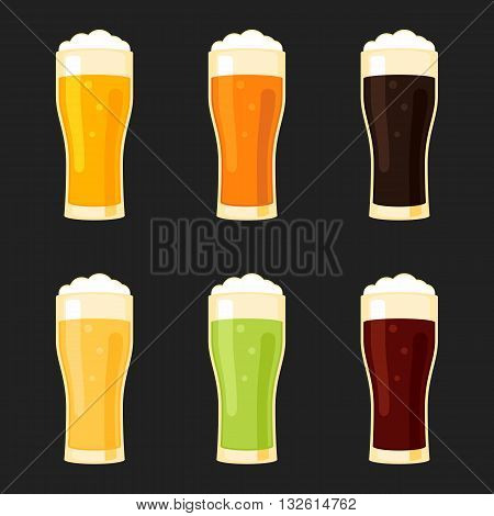 Beer glasses different types - lager, pilsner, ale, stout, green, red. Vector illustration sign flat style for web design and print