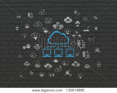 Cloud technology concept: Painted blue Cloud Network icon on Black Brick wall background with  Hand Drawn Cloud Technology Icons