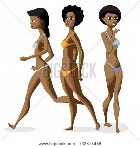 Set three afro black women dressed in swimsuit is standing. Isolated flat cartoon illustration. The comic girls on the beach in bikini.