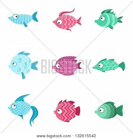 Fantastic Fish Set Of Cute Bright Color Childish Design Vector Illustrations Isolated On White Background