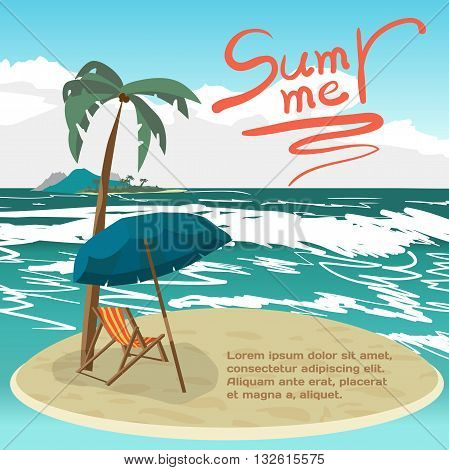 Summer vacation concept background with space for text. Vector cartoon flat illustration. Sea landscape summer beach on a small island palms and a private beach.
