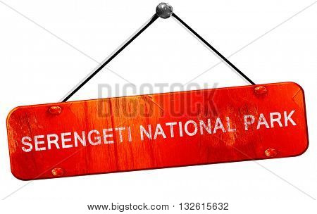 Serengeti national park, 3D rendering, a red hanging sign