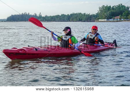 Labuan Malaysia - Jan 30, 2016:Group of adventurer enjoying sea kayak expedition activity at Labuan Malaysia in conjuction with Hari Wilayah 2016.