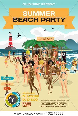 Vector summer party invitation beach style. Day beach bar with sound system crowd women in bikinis. Posters invitations or flyers. Vector template beach summer party poster.