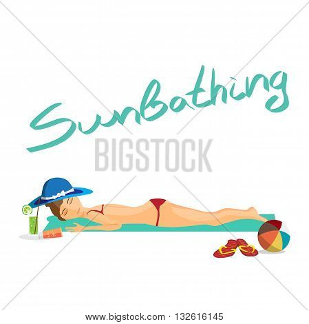 Woman sunbathes on the beach on sand. Vector isolated flat cartoon illustration. Girl sunbathes lying on a towel on the beach