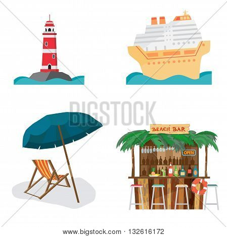 Set of summer beach objects. Summer Holidays. The lighthouse cruise ship beach bar beach umbrella and chair