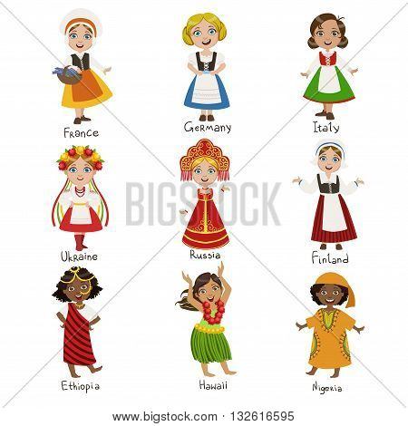 Girls In National Costumes Set Of Cute Bright Color Childish Design Vector Illustrations Isolated On White Background