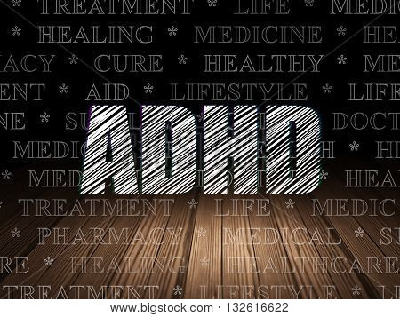 Healthcare concept: Glowing text ADHD in grunge dark room with Wooden Floor, black background with  Tag Cloud