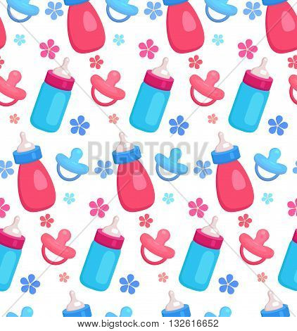 Seamless pattern with flat baby bottles and pacifiers for your creativity