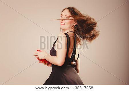 Happy Girl Dancing With Heart