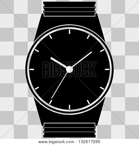 Watch clock balck icon web on transparent background