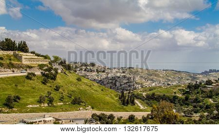Valley of Hinnom and Silwan - neighborhood on the outskirts of the Old City of Jerusalem, Israel